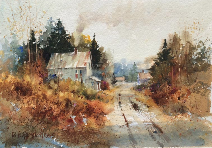 Watercolor Painting of a rural farm house in Upper Peninsula_ Michigan i the autumn