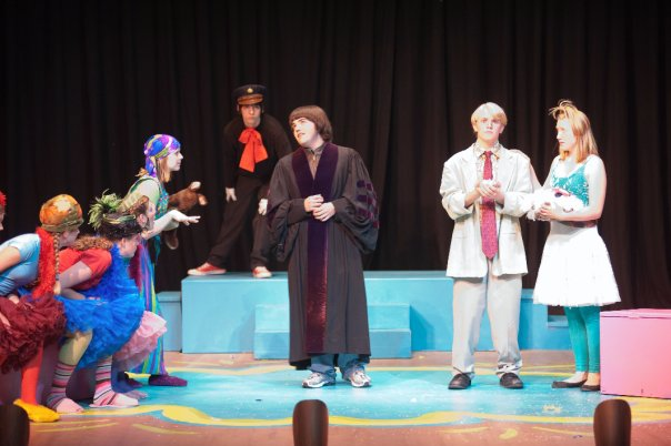 Actors on stage in a play