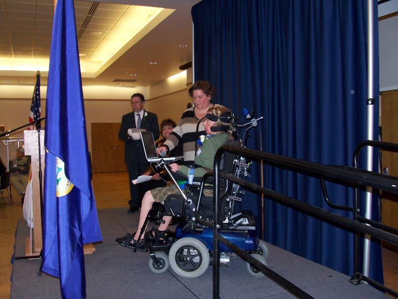 Sierra accepting Emerging Leader award