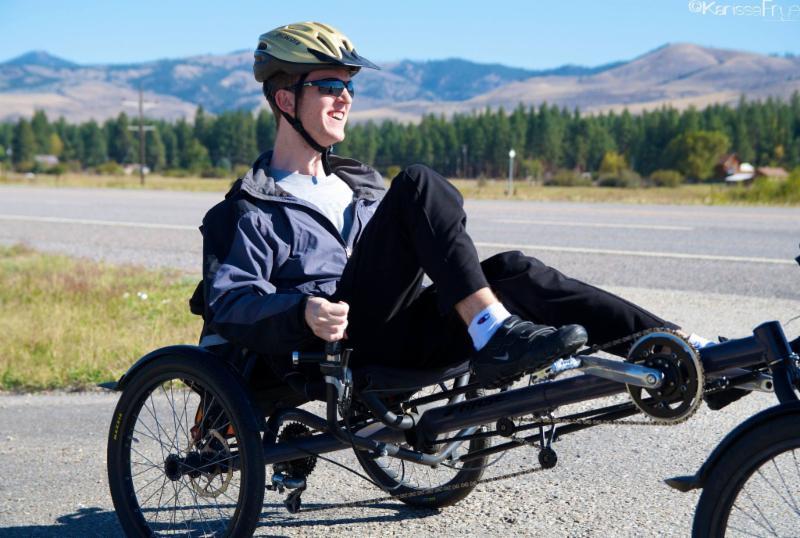 Photo of Chris riding bicycle