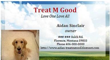 Aidan's business card