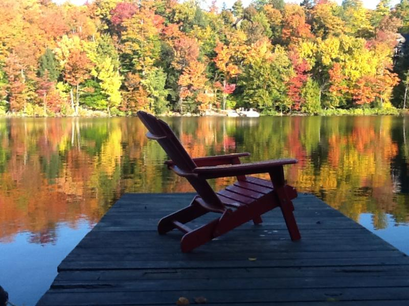 Chair on dock beside lake with autumn leaves in background