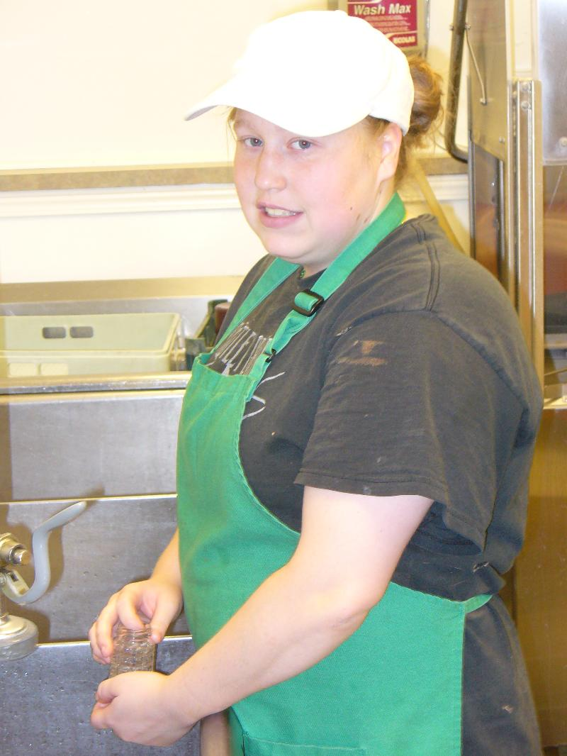 Cambria washing dishes