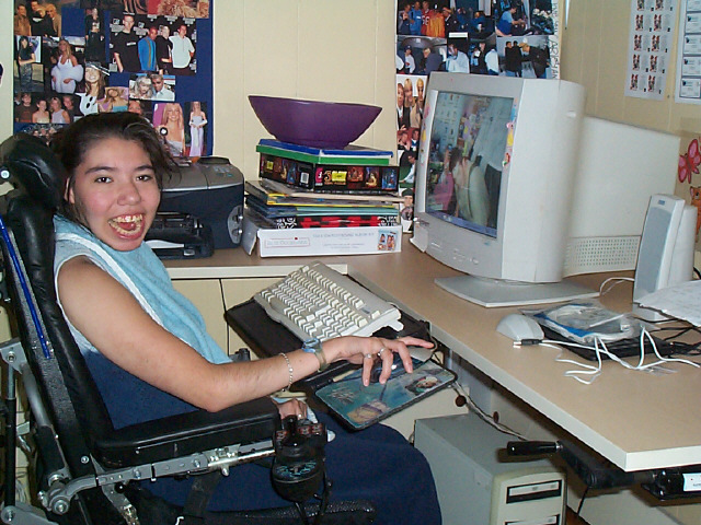 Carley at her computer