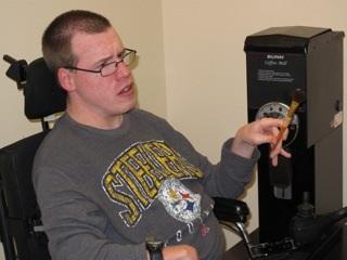 Trenton in his coffee work area