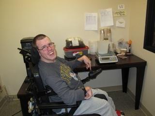 Trenton and his coffee work area