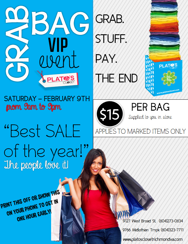 Plato S Closet Grab Bag Is Saay 2 9 Pay 15 To Fill A With Marked Clearance Items Print Or Show This Email Get In At 9am 9127 W