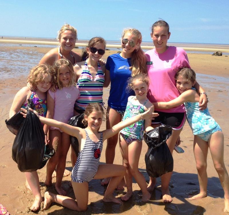 beach fun and trash