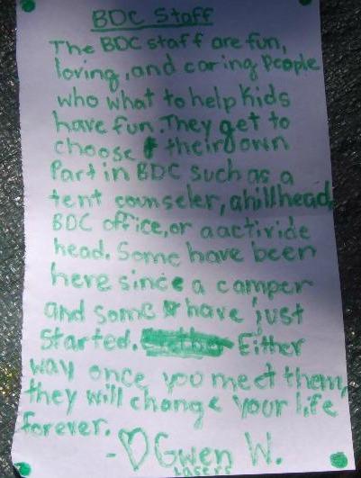 Camper Note