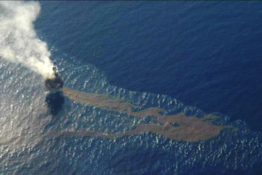 oil spill in open ocean