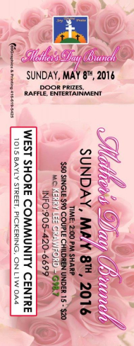 Mothers days brunch 2016 ticket