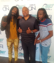 Selwyn with Gyptian _ Nesbeth when they stopped by the office at G98.7FM