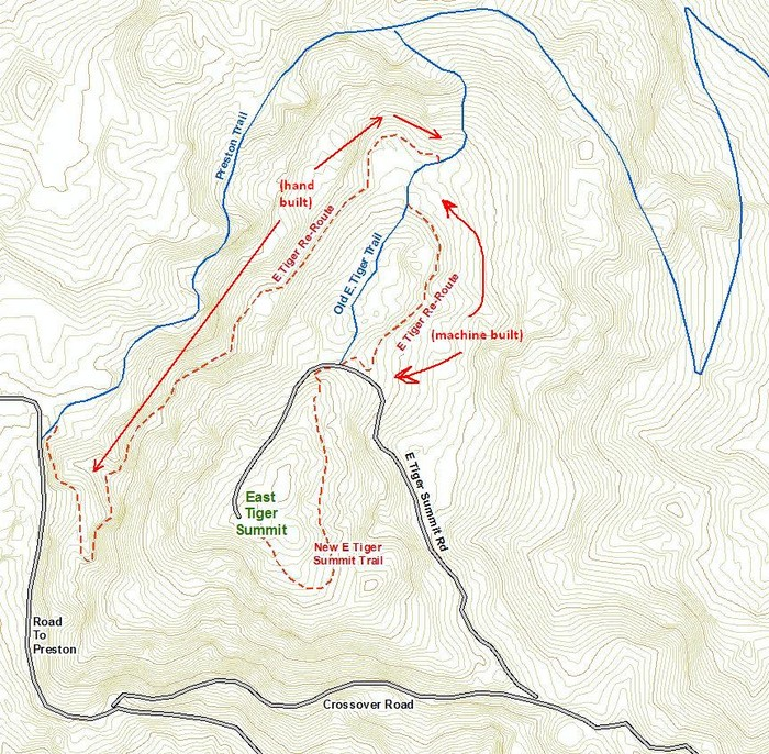 Map of new E Tiger Summit<br /> trail