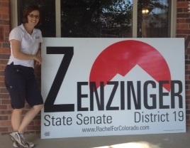 Sen. Zenzinger inspects yard sign delivery