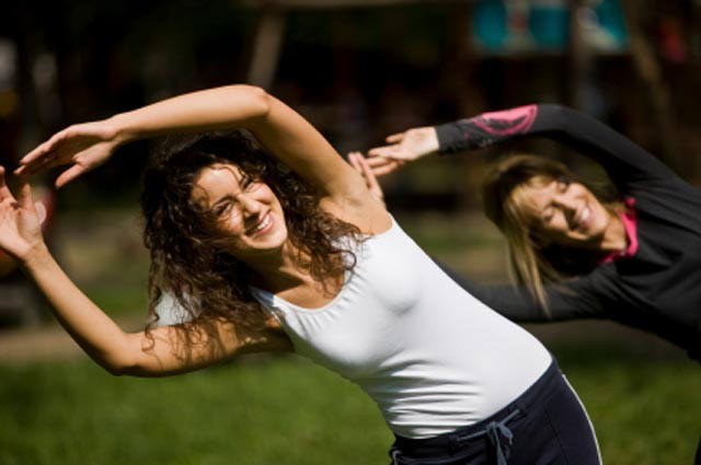 ladies stretching