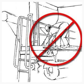 Sketch of worker reaching over guardrail