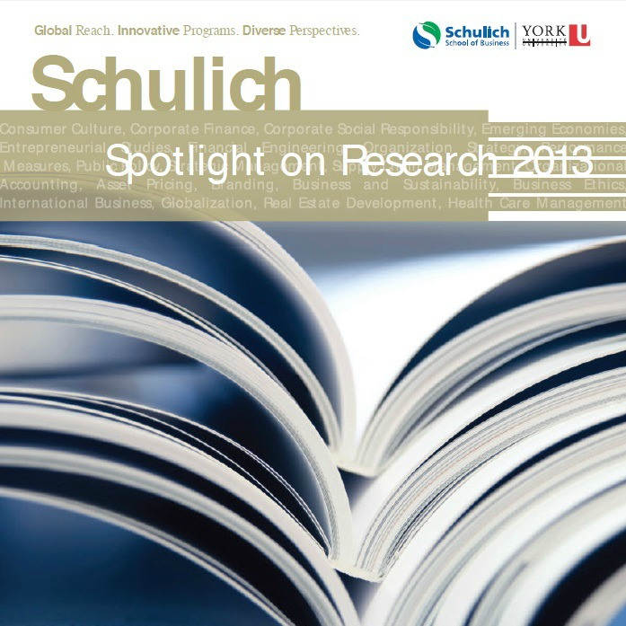 Schulich School of Business Research 2013 magazine cover