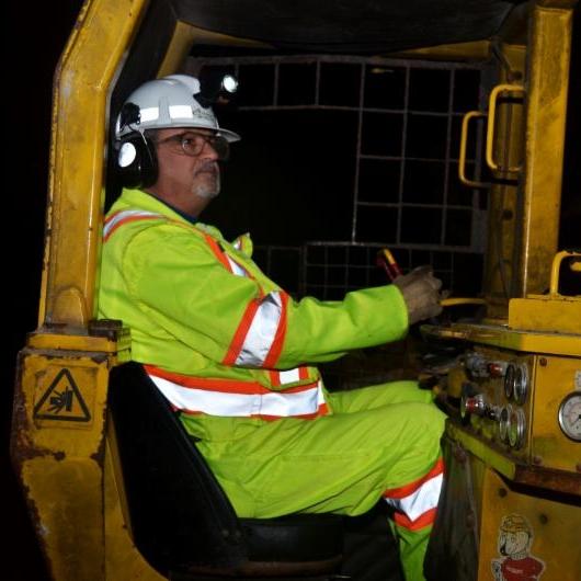 Mining worker underground