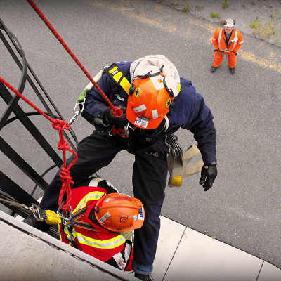 Mine rescue at heights training