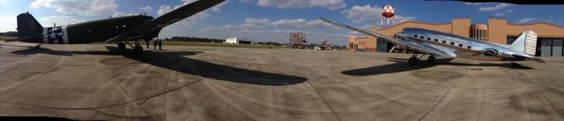 C-47 & DC-3 in pano on FoF ramp Jan 2013