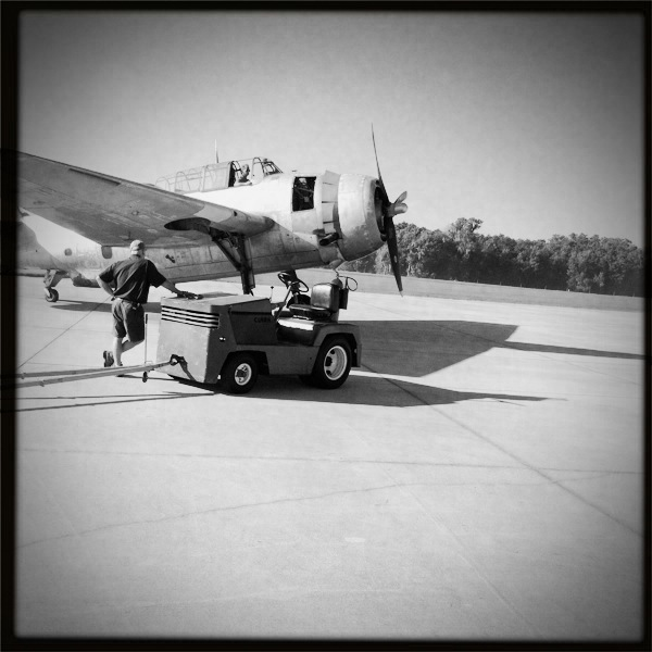 TBM Avenger on Ramp B/W Hipstamatic