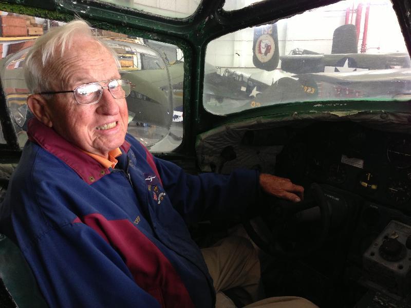 Bob Hoff in B-24 cockpit