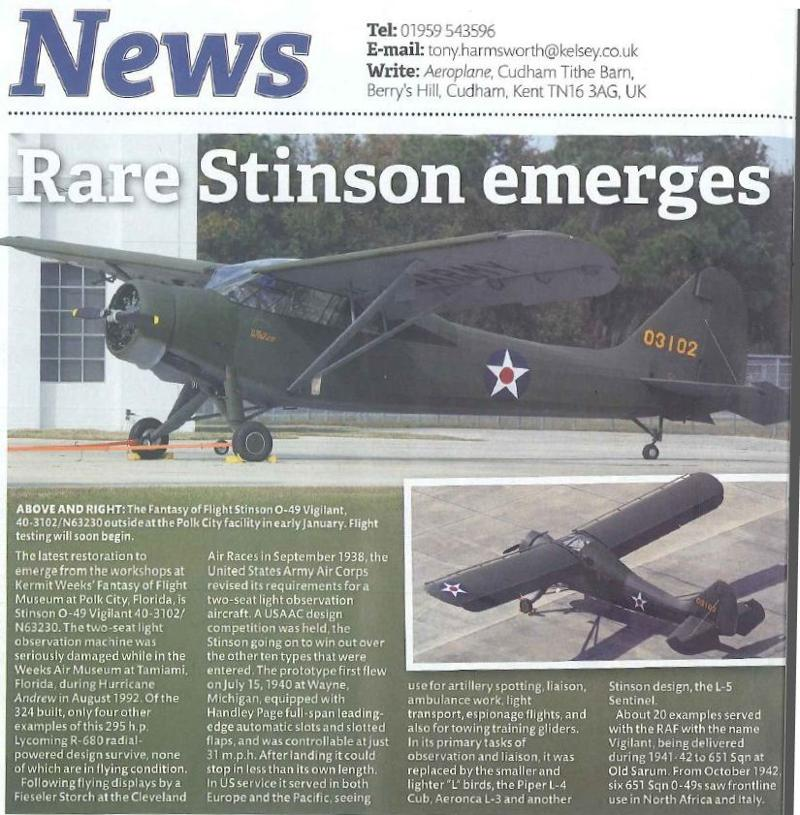 Aeroplane March 2013 Stinson