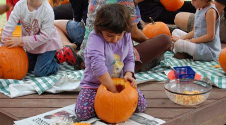 Pumpkin carving at Oak Grove School