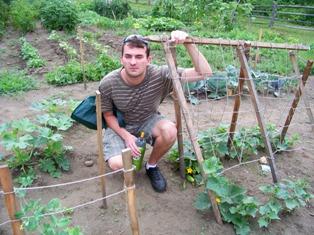 James gardening