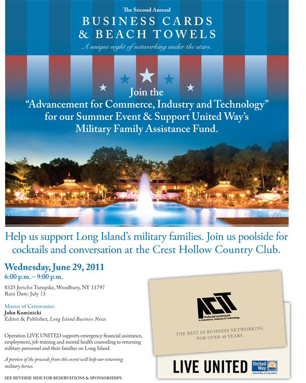 Dont miss out june 29 acits 2nd annual business cards beach towels acit flyer 1 reheart Image collections