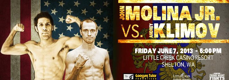 "JOHN MOLINA, JR. AND ANDREY K FIGHT ON ESPN ""FRIDAY NIGHT FIGHTS"" JUNE 7"