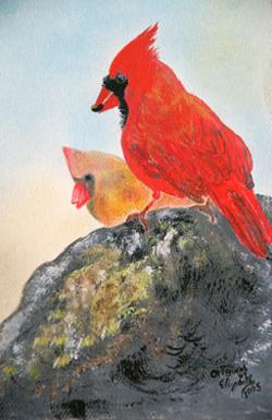 Red Cardinals in Central Park by Elizabeth Valenzuela