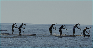 Stand up paddlers on a trek