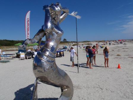 Shiela, the 15' high stainless steel mermaid event mascot