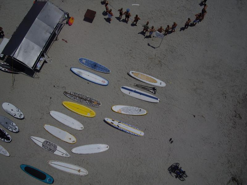aerial view of demo SUP's on beach from last SUPer Fest