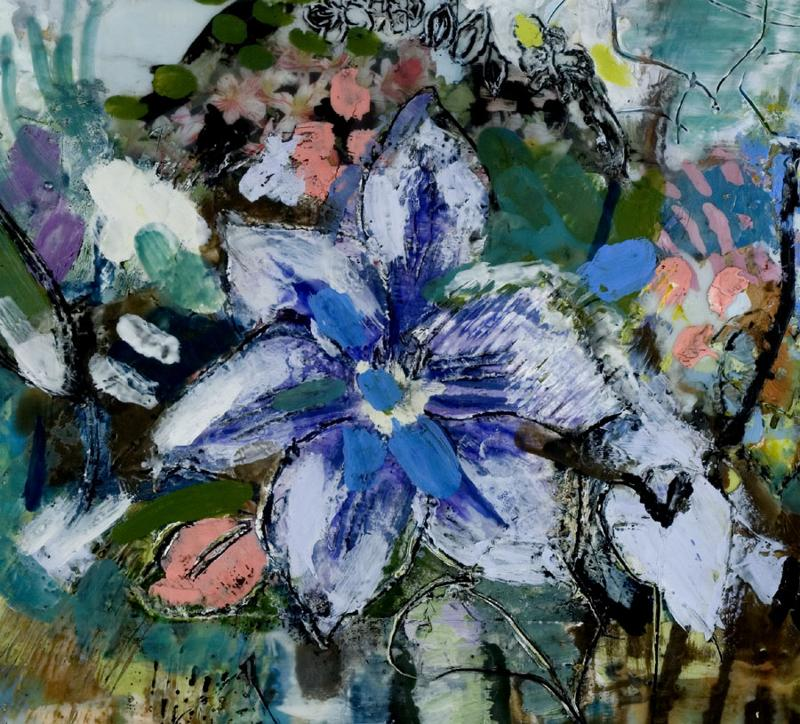 Clematis, encaustic on wood, detail
