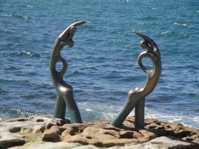 statues on beach