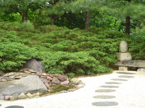 buddha head in garden