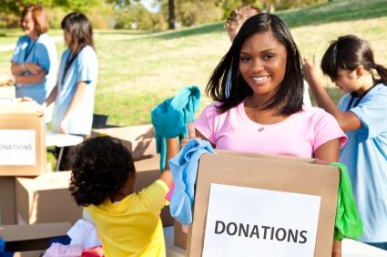 children donating