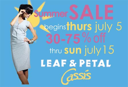 Sale 30 to 75% off Begins today, July 5
