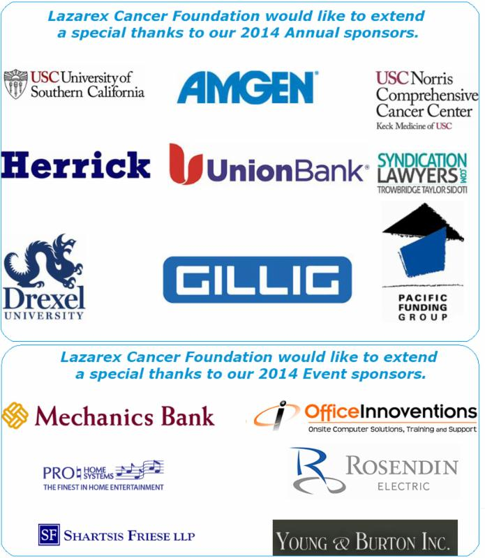 Lazarex Cancer Foundation would like to extend a special thanks to our 2014 Annual and Event sponsors and supporters.
