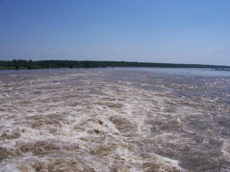 Mississippi River water rushing into the Atchafalaya Basin