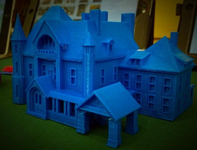 A building printed by a 3-D printer. It_s blue_
