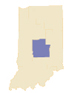 State of Indiana with Central Region Highlighted