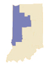 State of Indiana with Western Region Highlighted