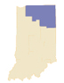 Map of Indiana with Northern Region Highlighted