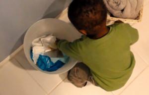 kid in trash
