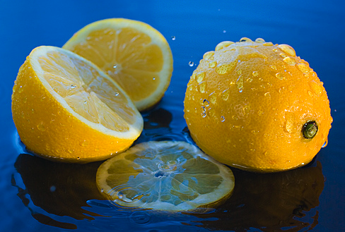 lemons with blue background