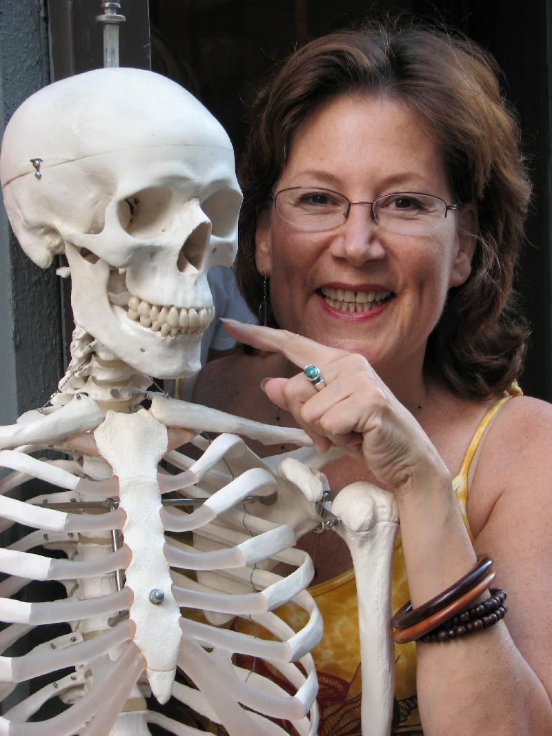 Irma Smiling with Skeleton