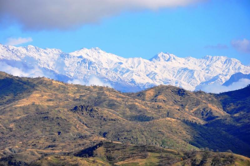 Looking from Kurdistan Iraq into the snow-covered mountains of Eastern Turkey
